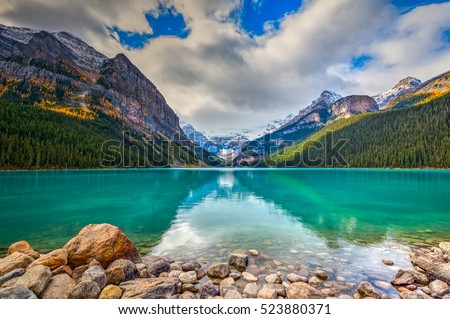 Beautiful autumn views of iconic Lake Louise in Banff National Park in the Rocky Mountains of Alberta Canada Royalty-Free Stock Photo #523880371