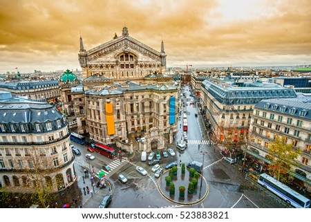 View of opera Garnier, Paris, France.