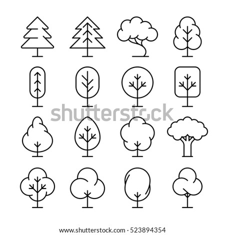 Tree thin line icons set. Collection of plant in linear style illustration #523894354