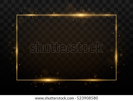 Vector golden frame with lights effects. Shining rectangle banner. Isolated on black transparent background. Vector illustration, eps 10.   Royalty-Free Stock Photo #523908580