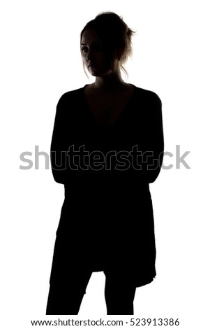 Silhouette of woman in cardigan #523913386
