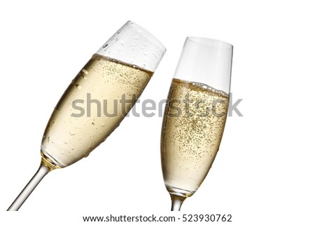 Two champagne glasses, close up #523930762