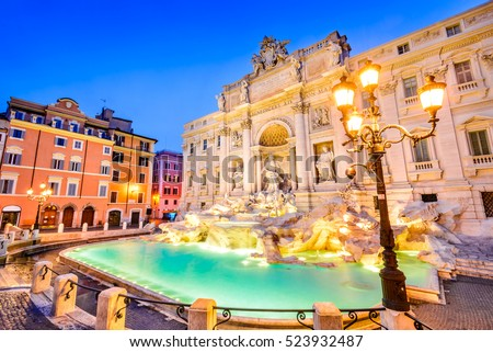 Rome, Italy. Stunningly ornate Trevi Fountain, built in, illuminated at night in the heart of Roma. #523932487