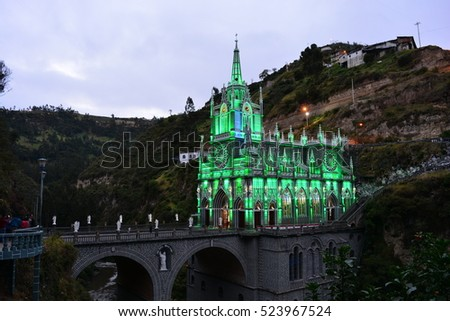 Beautiful church of Las Lajas, in Ipiales, Colombia, at night #523967524