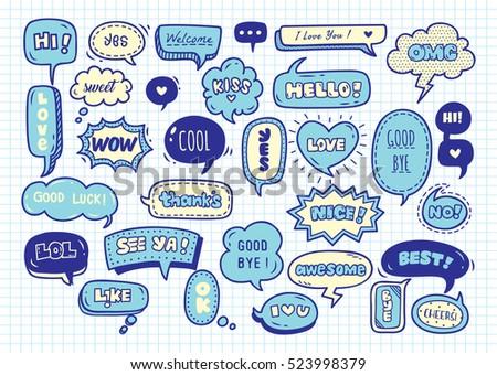 Cute speech bubble doodle set