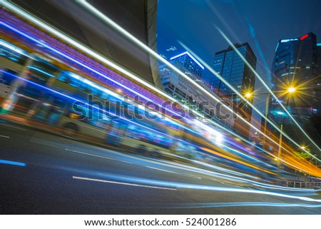 Traffic light trails in downtown of Shenzhen,China. #524001286