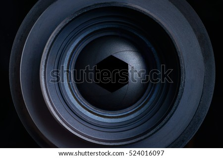 The diaphragm of a camera lens aperture, focus with goal target setting for center hitting on focus in the target center