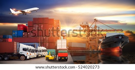 Logistics and transportation of Container Cargo ship and Cargo plane with working crane bridge in shipyard at sunrise, logistic import export and transport industry background #524020273