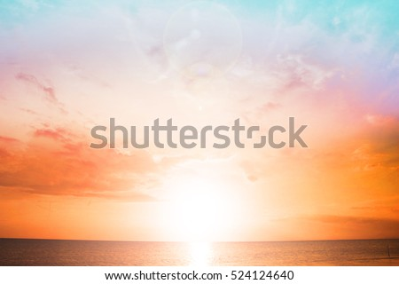 Background of colorful sky concept: Dramatic sunset with twilight color sky and clouds. #524124640