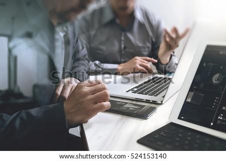 Business team meeting. Photo professional investor working new start up project. Finance task.Digital tablet docking keyboard laptop computer smart phone using, filter film effect #524153140