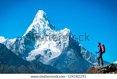 Hiker with backpacks reaches the summit of mountain peak. Success, freedom and happiness, achievement in mountains. Active sport concept. Royalty-Free Stock Photo #524182291