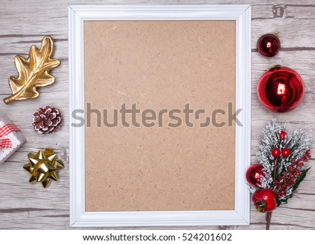 Christmas background with empty frame.