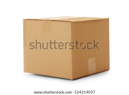 Cardboard box isolated on white Royalty-Free Stock Photo #524214037