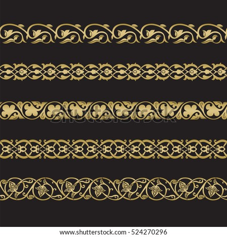 Seamless floral tiling borders. Inspired by old ottoman and arabian ornaments. Gold color on black background #524270296