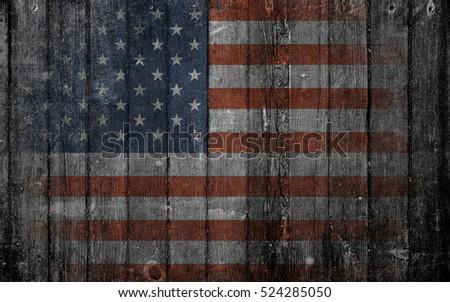 Old Usa flag on wood