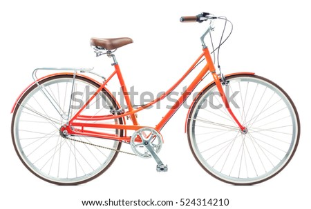 Stylish womens orange bicycle isolated on white background #524314210