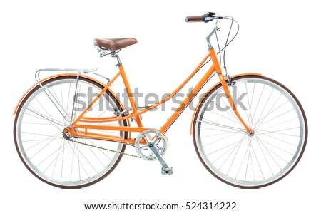 Stylish womens orange bicycle isolated on white background Royalty-Free Stock Photo #524314222