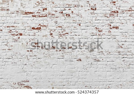 Red White Wall Background. Old Grungy Brick Wall Horizontal Texture. Brickwall Backdrop. Stonewall Wallpaper. Vintage Wall With Peeled Plaster. Retro Grunge Wall. Brick Wall With White Uneven Stucco #524374357