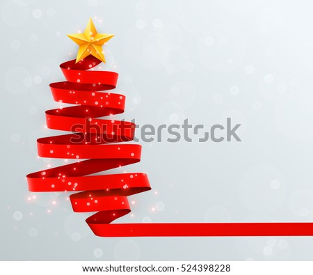 Christmas tree made of red ribbon on bright background. New year and christmas greeting card or party invitation. Vector illustration. #524398228
