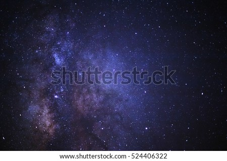 Close-up of Milky way galaxy with stars and space dust in the universe, Long exposure photograph, with grain. Royalty-Free Stock Photo #524406322