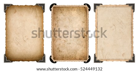 Old photo paper card with corner and edges isolated on white background. Vintage style photo frame