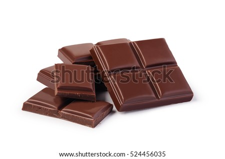 close up a chocolate bar isolated on white background #524456035
