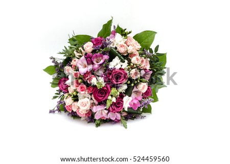 Wedding bouquet made of red and pink roses #524459560