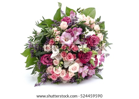 Wedding bouquet made of red and pink roses #524459590