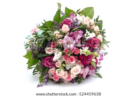Wedding bouquet made of red and pink roses #524459638
