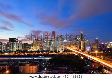 High angle view of Beijing CBD Skyline at night.