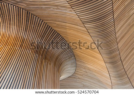 Architectural details of Welsh Assembly building. Wooden planks from sustainable sources. Eco-friendly design at its best. #524570704
