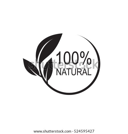 100% natural vector logo design. Royalty-Free Stock Photo #524595427