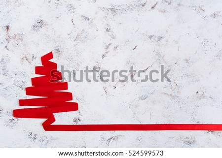 Christmas tree made of ribbon on white background. #524599573