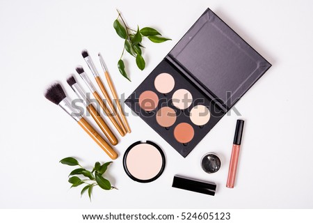 Professional makeup tools, flatlay on white background #524605123
