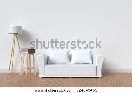 The interior has a White sofa and lamp on empty white wall background,3D rendering #524643463