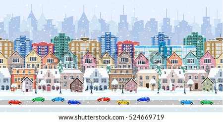 winter city street with trees and car. seamless border panorama with a winter cityscape. illustration Raster version. #524669719