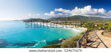 Coast with long beach, view from the promontory in a sunny day - Sardinia, Santa Margherita; Chia beach #524675674