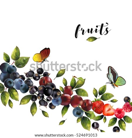 Realistic berries on a white background. #524691013