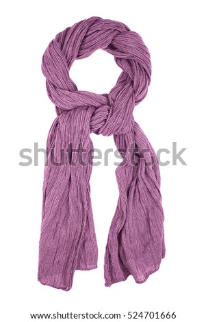 Purple wool scarf isolated on white background. Female accessory. #524701666