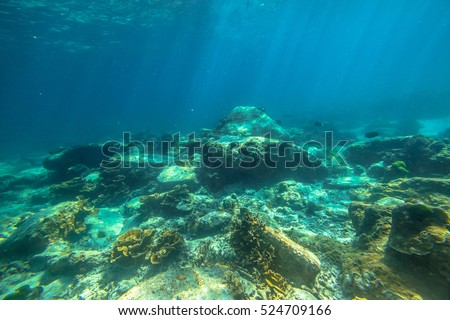 Typical landscape seabed with sunbeams of Phuket, Racha Noi in Thailand. #524709166