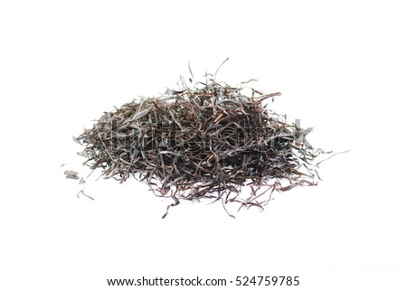 Arame. Dry seaweed isolated on white background. Sea vegetable. #524759785