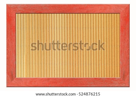 wooden frame isolated on white background and cardboard background. #524876215