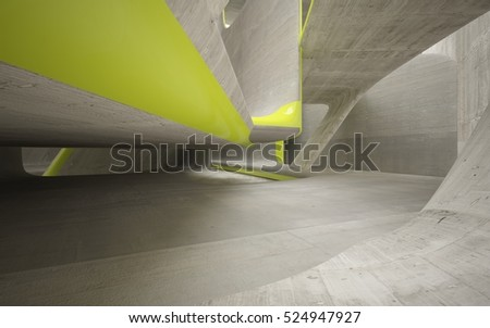 Empty dark abstract grey concrete room smooth interior with yellow lines. Architectural background. 3D illustration and rendering #524947927