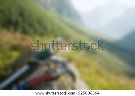 Mountaineering tourism theme creative abstract blur background with bokeh effect #525006364
