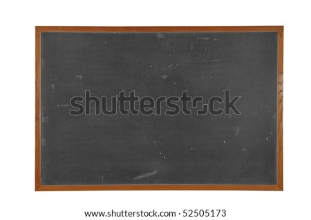 Blank vintage Blackboard with wood frame isolated over white with a clipping path #52505173