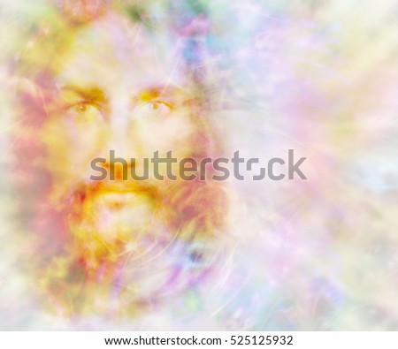 Gentle Spirit - ethereal golden light forming the face of a gentle spirit on a pastel colored energy field background with copy space on right