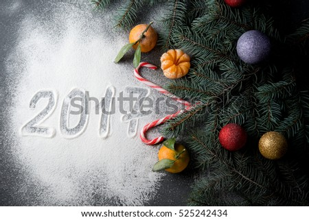 Christmas decorations with fir-tree branches, Christmas tree decorations and tangerines  #525242434
