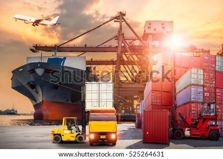 Truck transport container on the road to the port with oil and gas industry petrochemical plant background #525264631