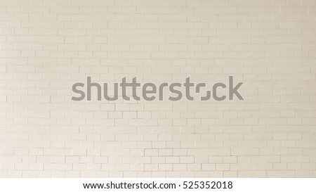 Brick tile wall porcelain texture background in white pastel cream beige brown color #525352018