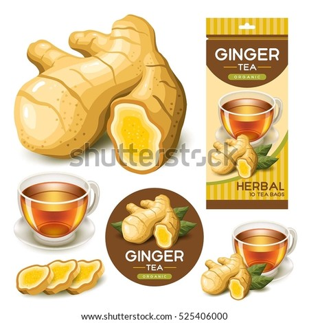 Ginger Vector with Glass of Tea Royalty-Free Stock Photo #525406000